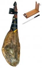 Prosciutto Pata Negra ibérico di ghianda Don Agustín Qualità Superiore + porta prosciutto + coltello