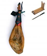 Prosciutto Pata Negra ibérico di mangime di campagna Guijuelo Revisan + porta prosciutto + coltello