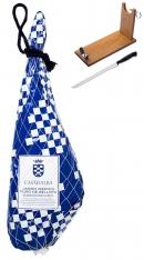 Prosciutto Pata Negra iberico 100% puro di ghianda intero Casa de Alba + porta prosciutto + coltello