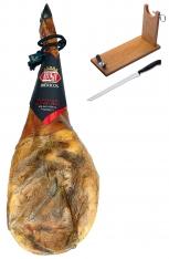 Prosciutto Pata Negra ibérico (Spalla) di mangime di campagna certificata Revisan + porta prosciutto + coltello
