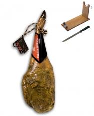 Prosciutto Pata Negra ibérico (Spalla) di mangime di campagna certificato Revisan + porta prosciutto + coltello