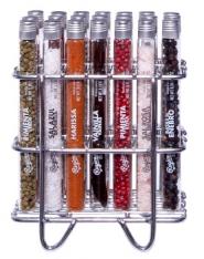 Set di 21 tubi in vetro contenenti sali, spezie e botanici premium in supporto di acciaio inox